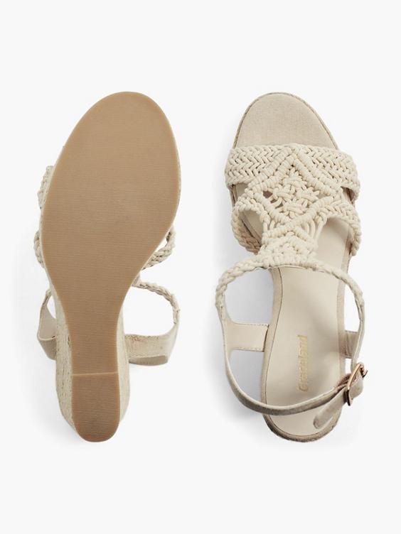 Beige knitted sandalette