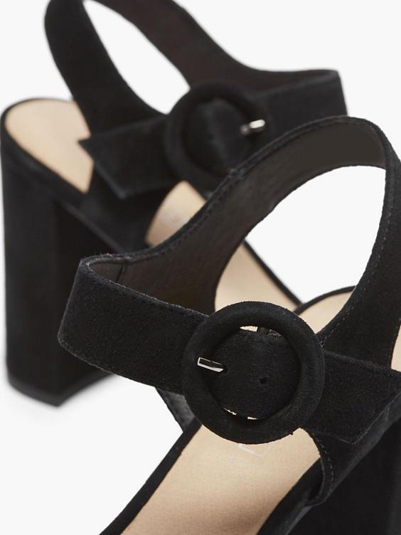 Zwarte suède sandalette