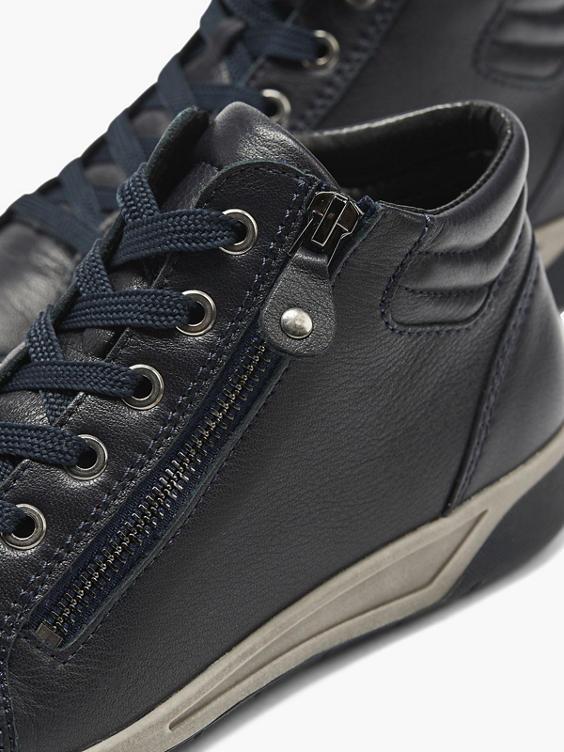 Donkerblauwe leren sneaker rits